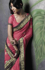 Pink Designer Saree in Wrinkle Chiffon Material: Pre-Order and Save 10%: Monsoon Collection : YF- 3887
