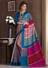 Blue & Pink Color Bhagalpuri Casual Party Sarees : Alika Collection  YF-44437