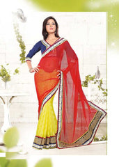 Red and Yellow  Colour  Half Wrinkle Chiffon and Half Bhagalpuri  Material Designer Sarees : Suhaag Collection -  YF-12004