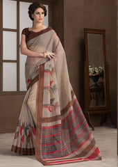 Light Coffee Color Bhagalpuri Casual Party Sarees : Alika Collection  YF-44439