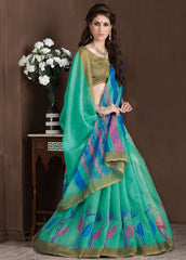 Green Color Bhagalpuri Casual Party Sarees : Alika Collection  YF-44440