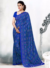 Blue Color Crepe Daily Wear Sarees : Rozika Collection  YF-30760