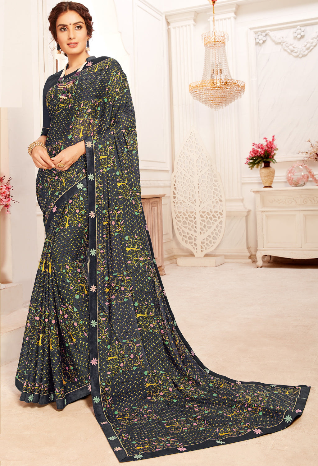 Blue Color Georgette Trendy Casual Party Sarees NYF-6342