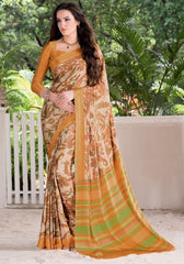 Light Coffee, Orange & Green Color Crepe Daily Wear Sarees : Prajna Collection  YF-44933