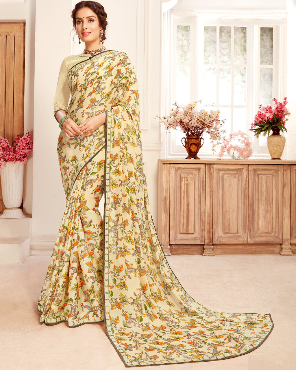 Cream Color Crepe Georgette Trendy Casual Party Sarees NYF-6343