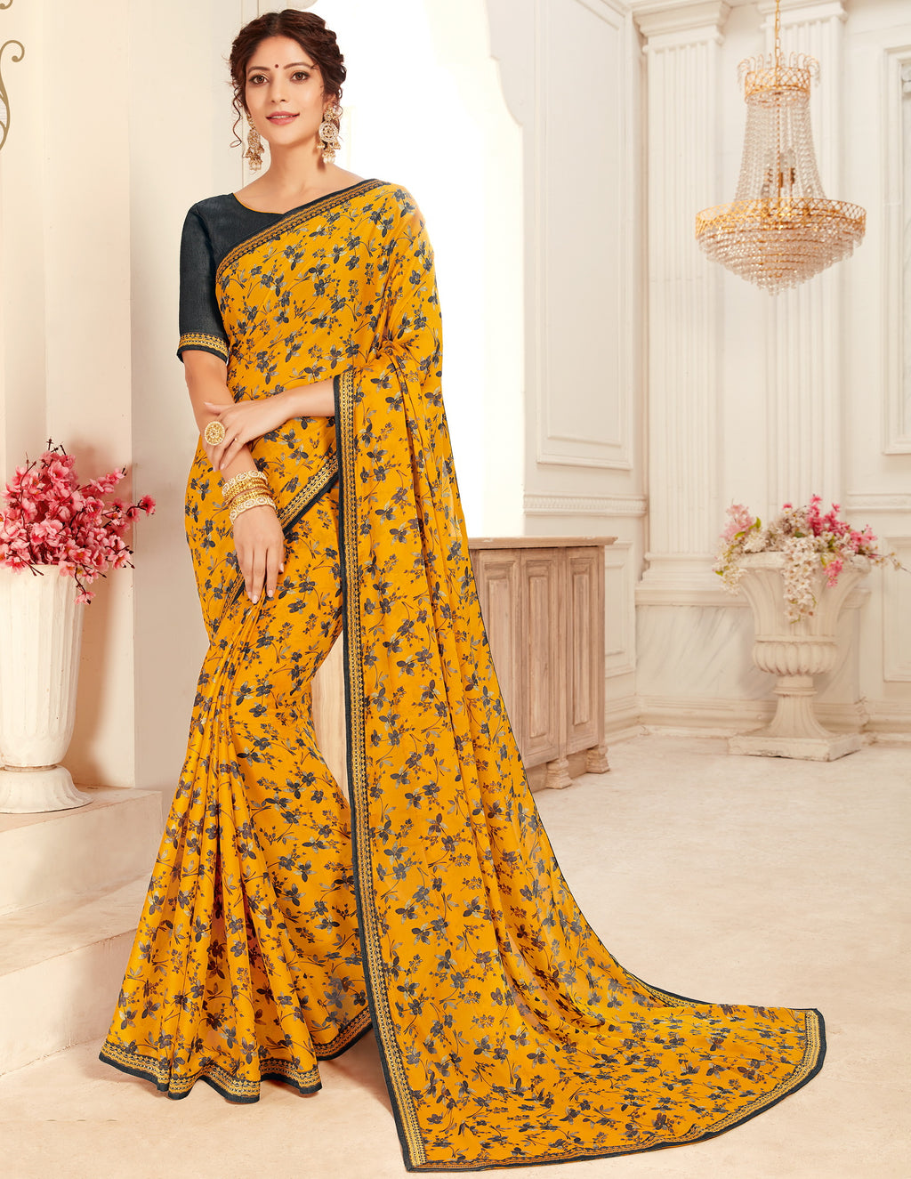 Yellow Color Georgette Trendy Casual Party Sarees NYF-6344