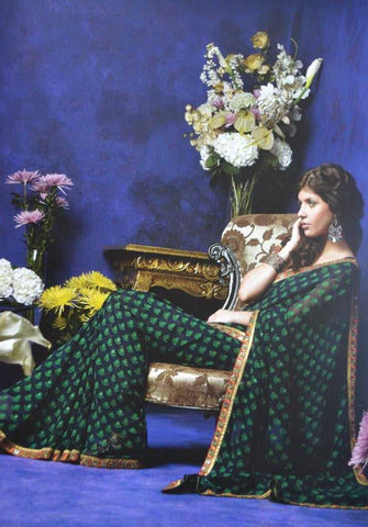 Green and Blue  Colour  Chiffon  Material Designer Sarees : All-Time Collection -  YF-16765