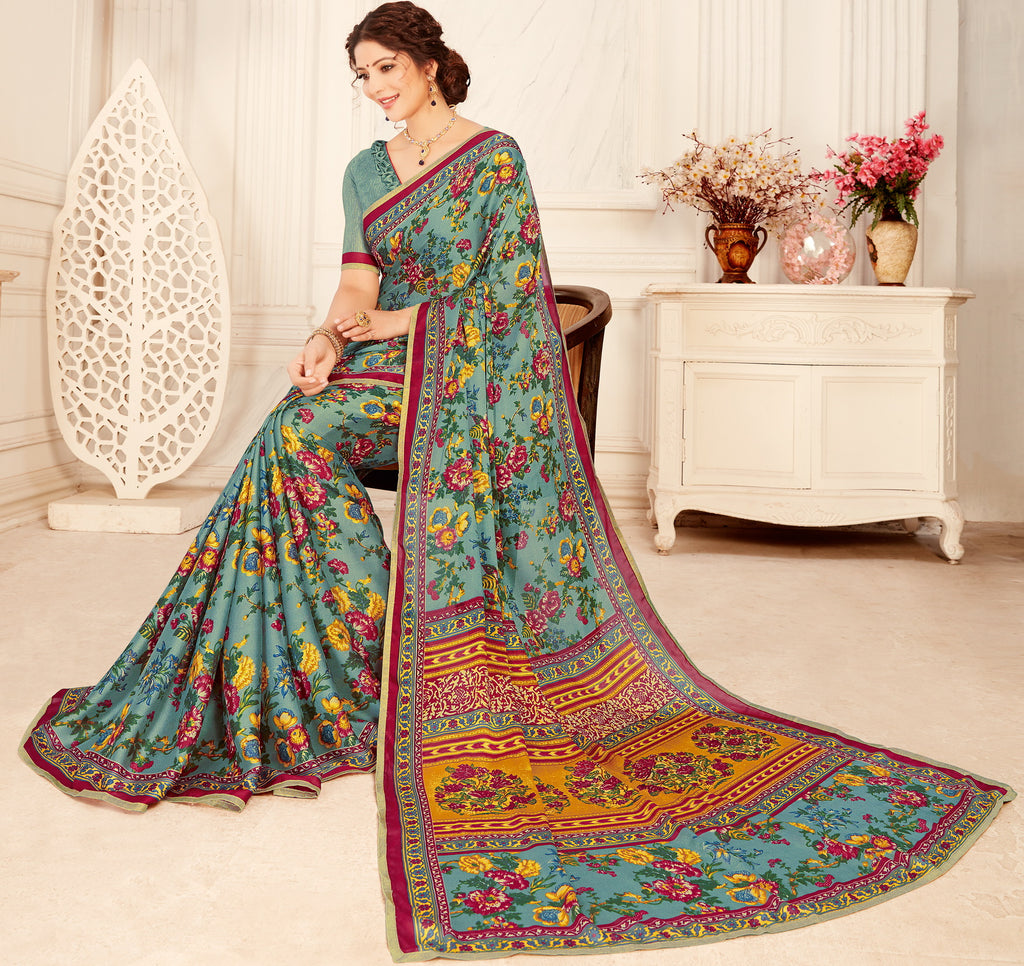 Blue Color Crepe Georgette Trendy Casual Party Sarees NYF-6345