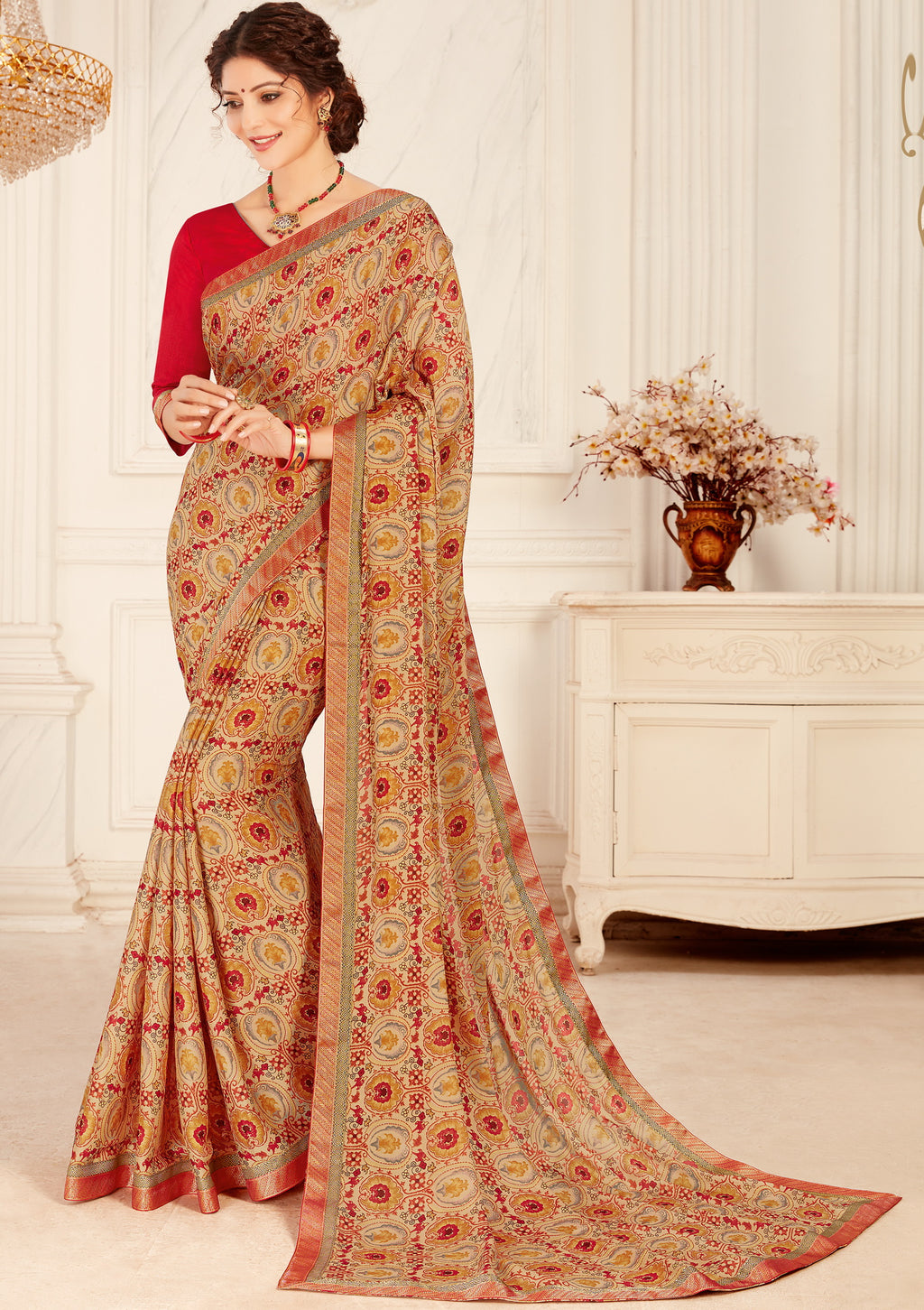Multi Color Crepe Georgette Trendy Casual Party Sarees NYF-6346