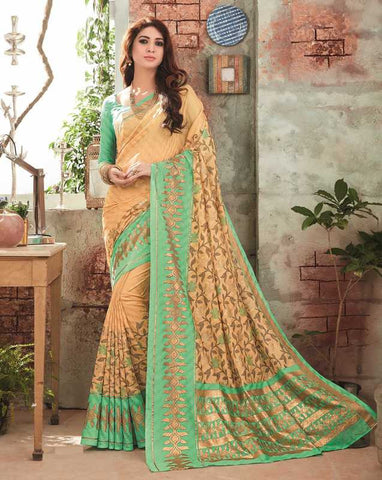 Light Coffee & Green Color Bhagalpuri Festival & Party Wear Sarees : Gritika Collection  YF-46143