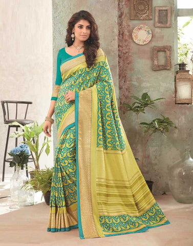 Rama Green Color Bhagalpuri Festival & Party Wear Sarees : Gritika Collection  YF-46148