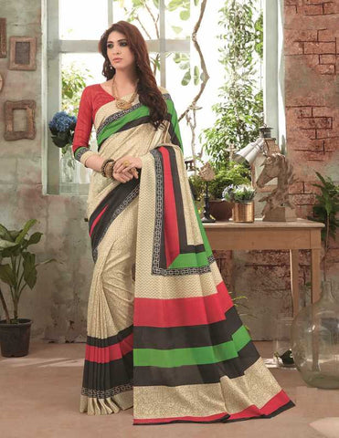 Cream Color Bhagalpuri Festival & Party Wear Sarees : Gritika Collection  YF-46153
