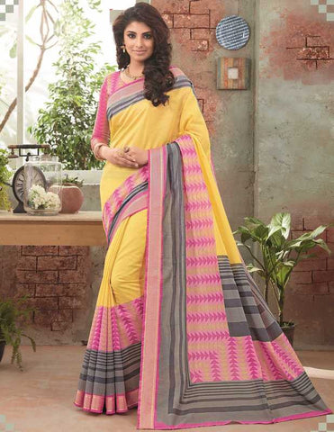 Yellow & Pink Color Bhagalpuri Festival & Party Wear Sarees : Gritika Collection  YF-46155