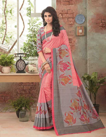 Pink & Grey Color Bhagalpuri Festival & Party Wear Sarees : Gritika Collection  YF-46157