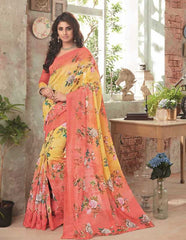 Yellow & Peach Color Bhagalpuri Festival & Party Wear Sarees : Gritika Collection  YF-46164