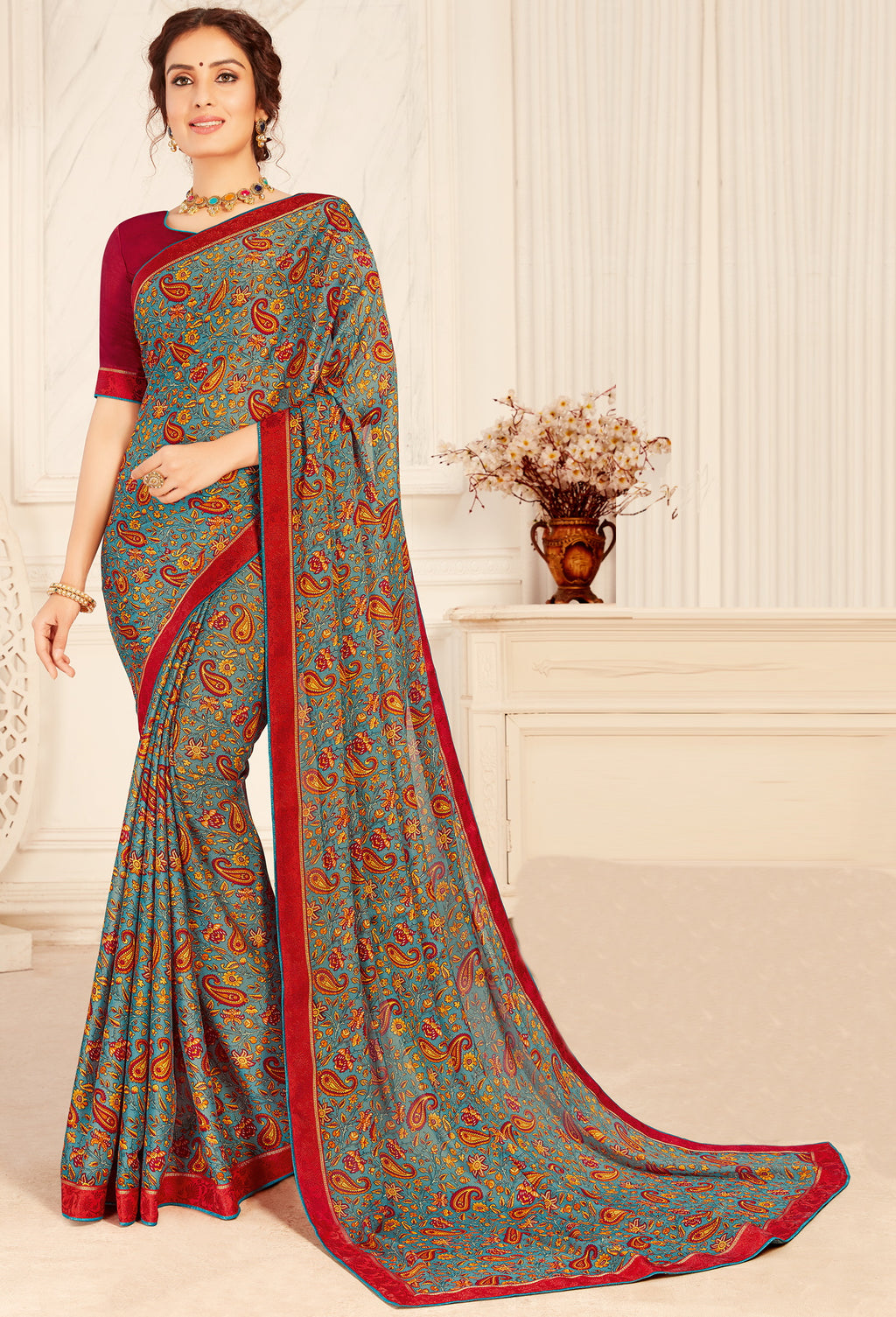 Multi Color Crepe Georgette Trendy Casual Party Sarees NYF-6347