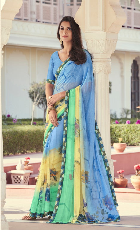 Skyblue, Yellow and Green Color Georgette Casual Wear Saree -   Iksha  Collection  YF#11405