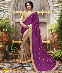Copper & Purple Color Half Smart Net & Half Crepe Designer Wedding Function Sarees : Sanidhi Collection  YF-50603