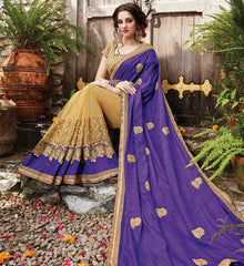 Cream & Purple Color Half Net & Half Raw Silk Designer Wedding Function Sarees : Sanidhi Collection  YF-50604