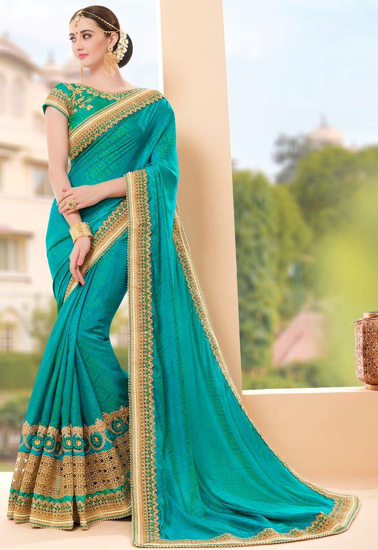 Firozi Color Silk Party Wear Sarees : Pinati Collection  NYF-3392 - YellowFashion.in