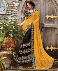 Black & Yellow Color Half Wrinkle Chiffon & Half Georgette Designer Wedding Function Sarees : Sanidhi Collection  YF-50605