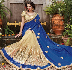 Blue & Cream Color Half Bhagalpuri & Half Net Designer Wedding Function Sarees : Sanidhi Collection  YF-50607