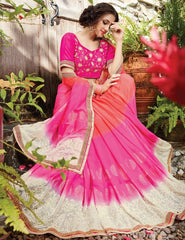 Pink Color Georgette Designer Wedding Function Sarees : Sanidhi Collection  YF-50608