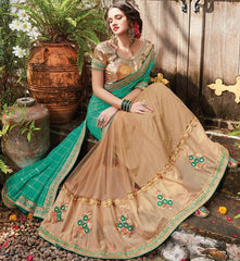 Green & Light Coffee Color Half Net & Half Wrinkle Chiffon Designer Wedding Function Sarees : Sanidhi Collection  YF-50609