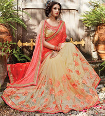 Cream & Peach Color Half Net & Half Wrinkle Chiffon Designer Wedding Function Sarees : Sanidhi Collection  YF-50610