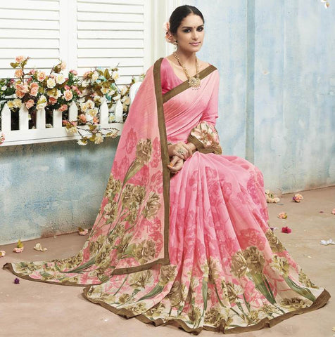 Pink Color Bhagalpuri Casual Wear Sarees : Arinya Collection  YF-46879