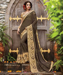 Mud Color Georgette Designer Wedding Function Sarees : Sanidhi Collection  YF-50611