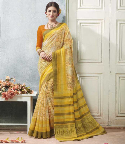 Yellow Color Bhagalpuri Casual Wear Sarees : Arinya Collection  YF-46880