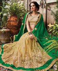 Green & Light Golden Color Half Raw Silk & Half Net Designer Wedding Function Sarees : Sanidhi Collection  YF-50612