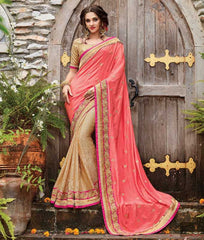 Pink & Light Golden Color Half Brasso & Half Raw Silk Designer Wedding Function Sarees : Sanidhi Collection  YF-50613