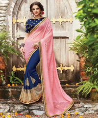 Pink & Blue Color Half Georgette & Half Wrinkle Chiffon Designer Wedding Function Sarees : Sanidhi Collection  YF-50615