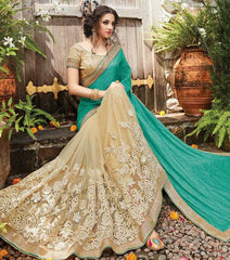 Green & Cream Color Half Net & Half Crush Designer Wedding Function Sarees : Sanidhi Collection  YF-50616