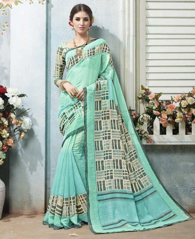 Sea Green Color Bhagalpuri Casual Wear Sarees : Arinya Collection  YF-46885