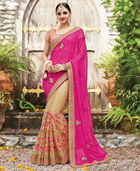 Rani Pink & Light Golden Color Half Net & Half Wrinkle Chiffon Designer Wedding Function Sarees : Sanidhi Collection  YF-50617