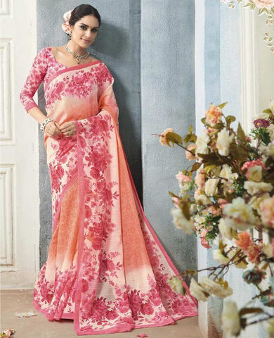 Peach & Pink Color Bhagalpuri Casual Wear Sarees : Arinya Collection  YF-46886