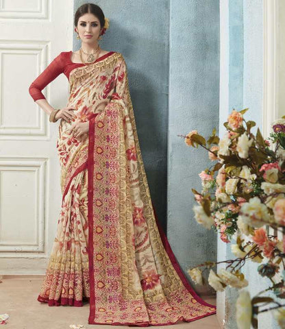 Cream & Red Color Bhagalpuri Casual Wear Sarees : Arinya Collection  YF-46890