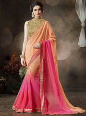 Light Orange & Pink Color Wrinkle Chiffon Function & Party Sarees : Mahir Collection  YF-31555