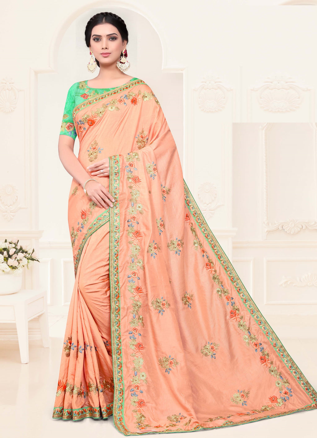 Baby Pink Color Silk Trendy Designer Sarees NYF-4196 - YellowFashion.in