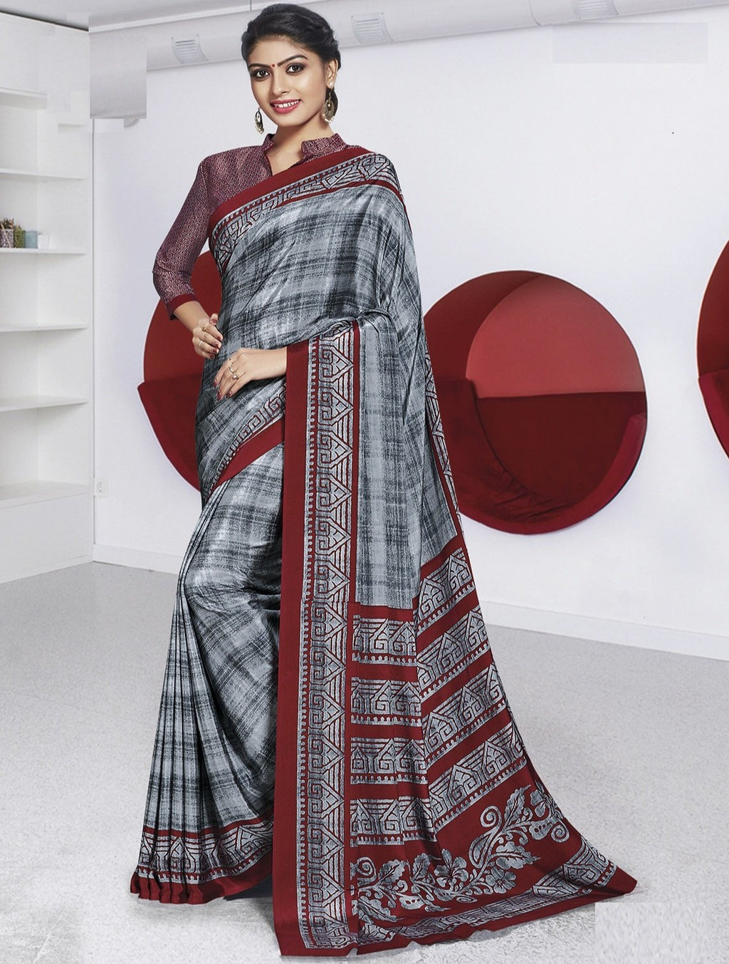 Grey Color Crepe Printed Office Wear Sarees NYF-7890