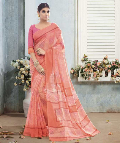 Pink & Peach Color Bhagalpuri Casual Wear Sarees : Arinya Collection  YF-46891