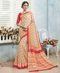 Cream & Orange Color Bhagalpuri Casual Wear Sarees : Arinya Collection  YF-46895