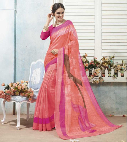 Peach & Pink Color Bhagalpuri Casual Wear Sarees : Arinya Collection  YF-46897