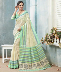 Cream & Green Color Bhagalpuri Casual Wear Sarees : Arinya Collection  YF-46898