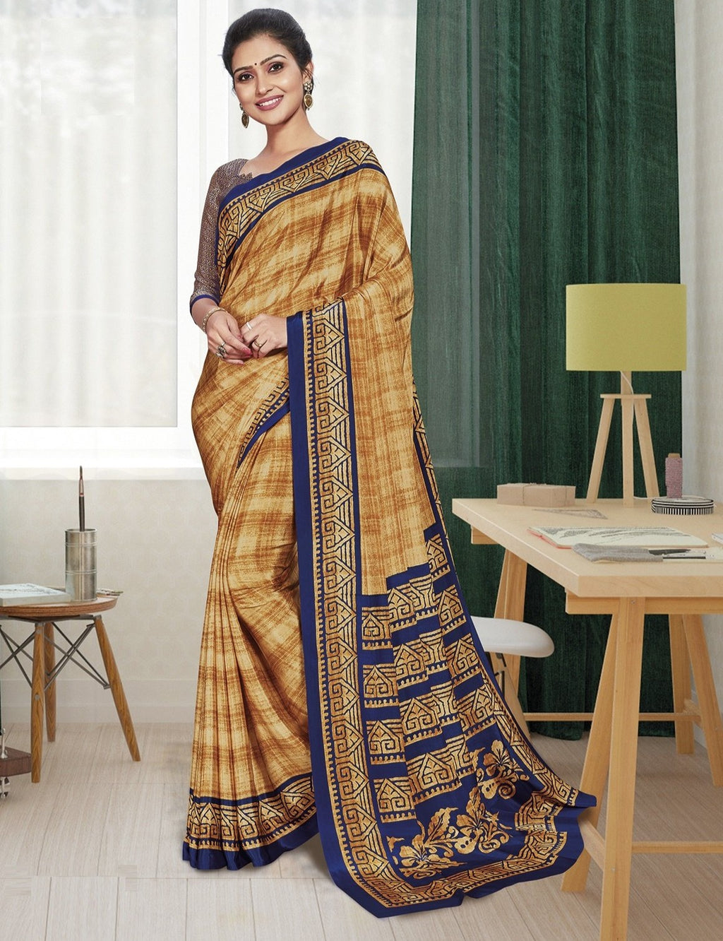 Light Coffee & Blue Color Crepe Printed Office Wear Sarees NYF-7891