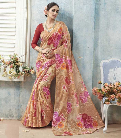 Light Coffee & Pink Color Bhagalpuri Casual Wear Sarees : Arinya Collection  YF-46902