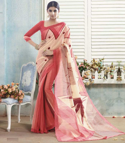 Cream & Pink Color Bhagalpuri Casual Wear Sarees : Arinya Collection  YF-46904